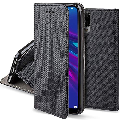 Moozy Cover per Huawei Y6 2019, Nero - Custodia a Libro Flip Smart Magnetica con Appoggio e Porta Carte