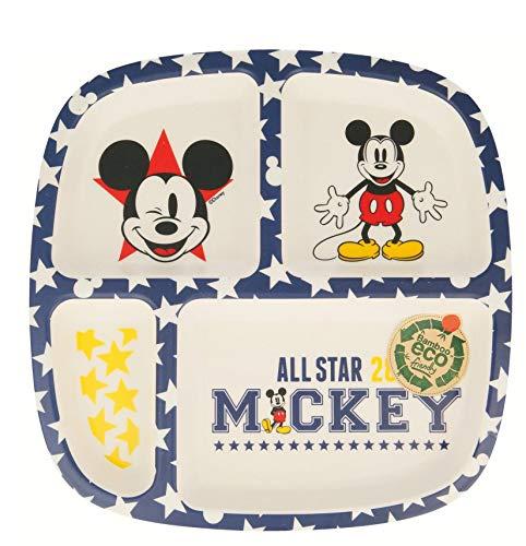 Elemed 1323 Umweltfreundlicher Bambus Disney geteilter Teller mit Micky Maus, mehrfarbig