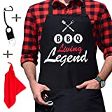 BBQ Living Legend - Unique Message - BBQ Grill Chef Apron for Men, 2 Roomy Pockets, Bottle Opener, Towel, Men's Grilling Barbeque Apron, Fathers Day, Birthday Gifts for Dad, Funny Grill Apron