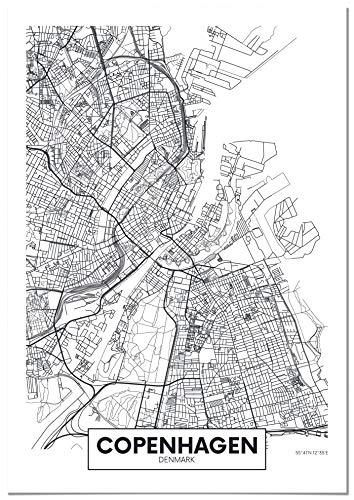Panorama Póster Copenhague 35x50cm - Impreso en Papel 250gr - Póster Pared - Cuadros Decoración Salón - Cuadro Mapas de Ciudades - Póster Mapa - Póster Decorativos - Cuadros Modernos