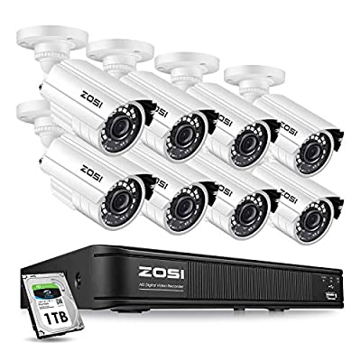 ZOSI 1080p Home Security Camera System Outdoor Indoor, 1080N Security DVR 8 Channel with Hard Drive 1TB and 8 x 1080p Surveillance Bullet Camera, Remote Access, Motion Detection
