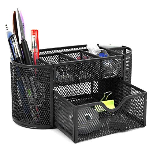 BTSKY - Porta oggetti da scrivania a 9scomparti multi-funzionale, organizer salvaspazio per ufficio, contenitore per cancelleria con cassettino portaoggetti, struttura a rete