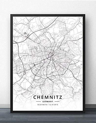 Leinwand Bild,Deutschland Chemnitz Stadtkarte Breitengrad Längengrad Schwarz Weiß Einfache Kunst Poster Wandbild Minimalistische Pop Malerei Büro Wohnraum Dekoration, 40Cm X 50Cm/15,7 * 19,6 In