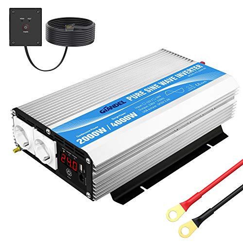 GIANDEL Spannungswandler 24V auf 230V 2000W Reiner Sinus Wechselrichter Konverter mit Zwei AC-steckdosen mit Fernbedienung 2.4A USB und LED-Anzeige