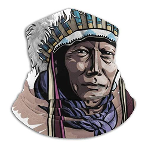 Apache Man Wearing An Indian Chief Headdress Neck Warmer - Neck Gaiter Tube,Ear Warmer Headband & Face Mask.Ultimate Thermal Retention,Versatility & Style.Constructed With Super Soft Microfiber