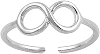 California Toe Rings Women's Sterling Silver Infinity Midi Adjustable Toe Ring