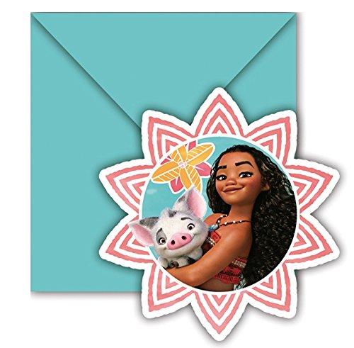 Set met 6 uitnodigingskaarten + enveloppen Vaiana Disney verjaardag 776