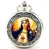 Infinite U Rétro Catholique Sainte Vierge Marie Argent Squelette Creux Montre de...