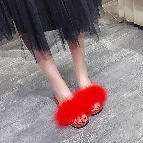 Perferct obuwie ochronne dla mężczyzn, letnie futrzane kapcie damskie, moda dziki zamek błyskawiczny, płaskie płaskie, czerwone sandały, przyjaciół, żony, matki, prezent dla córki - 39_Fly