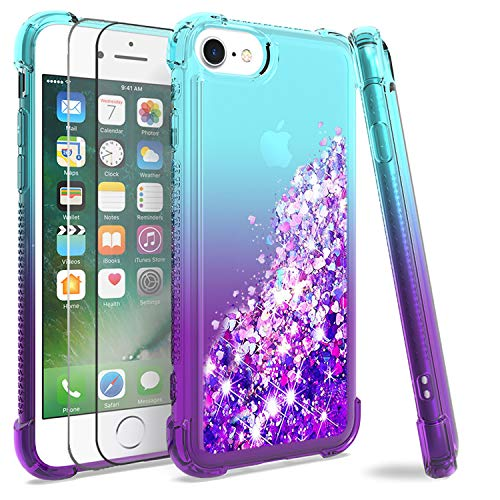 M MAIKEZI iPhone SE (2020)/6/6S/7/8 Case,with Tempered Glass Screen Protector [2 Pack], Gradient Quicksand Glitter Bling Flowing Liquid Floating TPU Bumper Cushion Protective Cute Case (Teal Purple)