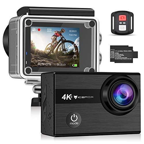 Icefox Action Cam 4K onderwatercamera waterdicht 40 m Ultra HD 20MP camera 170 ° ultragroothoek WiFi camcorder IJs stabilisatie met Dual 1350 mAh batterij
