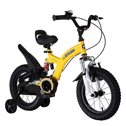 HDGZ Kids' Bikes, Children's Exercise Bike 2-4-6-7-8-9-10 Year Old Boys and Girls Bicycles Outdoor Cycling, Children's Student Bicycles Best Gifts for Children (Color : Yellow, Size : 16in)