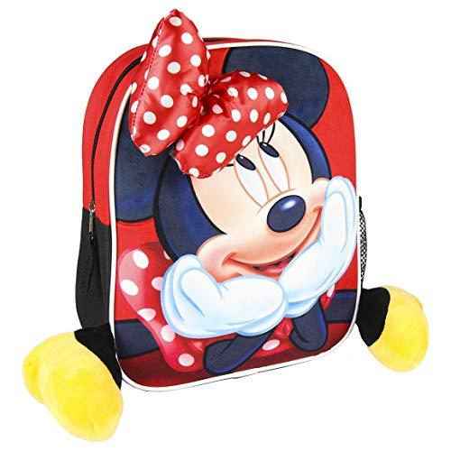 Disney Minnie Mouse Girls Backpack, Children's School Bag, Kids Rucksack Luggage Travel Girls Cabin Bag, Fun 3D Design, Kids Nursery Backpack, Great Gift for Girls!