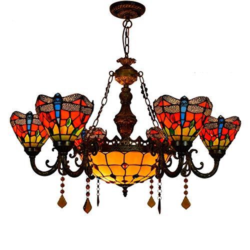Lámparas de soporte Tiffany 32 pulgadas de Tiffany 6 cabezas araña roja de la libélula colorido techo acristalado Persianas invertido lámpara colgante for el Lobby Living luz que cuelga de habitacione