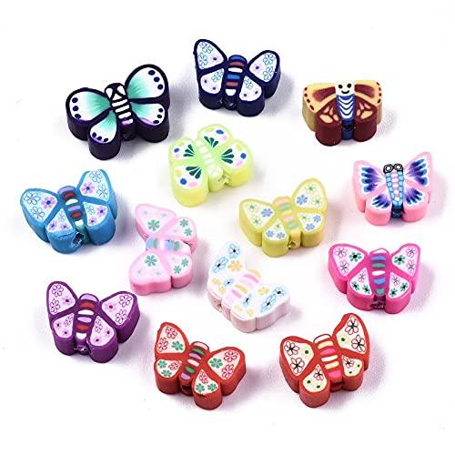 Beadthoven - 500 cuentas de arcilla polimérica, diseño de mariposas, moscas, animales, para niños, joyas, collares, pulseras, agujero: 2 mm