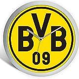 Borussia Dortmund Modische Wanduhr/Uhr/Wall Clock Ø 25 cm BVB 09 - Plus gratis Aufkleber Forever Dortmund