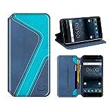 MOBESV Smiley Nokia 6 Hülle Leder, Nokia 6 Tasche Lederhülle/Wallet Hülle/Ledertasche Handyhülle/Schutzhülle mit Kartenfach für Nokia 6, Dunkel Blau/Aqua