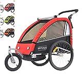 Papilioshop Mover - Remolque para carrito y carrito de transporte para 1 o 2 niños (rojo)