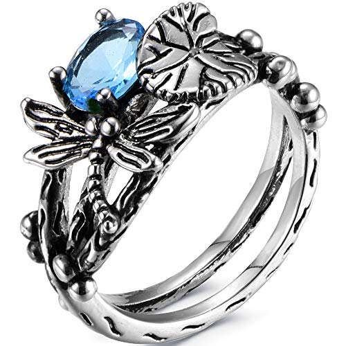 Jude Jewelers Retro Vintage Style Dragonfly Lotus Leaf Promise Statement Party Ring (Blue, 10)