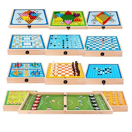 Juego de mesa de madera, 15 en 1 juego de puck de Sling Fast, juegos de mesa de cheques chinos para adultos, mesa de mesa para adultos niño Partchild Interactive Toy Party Ganador de madera Puck juego