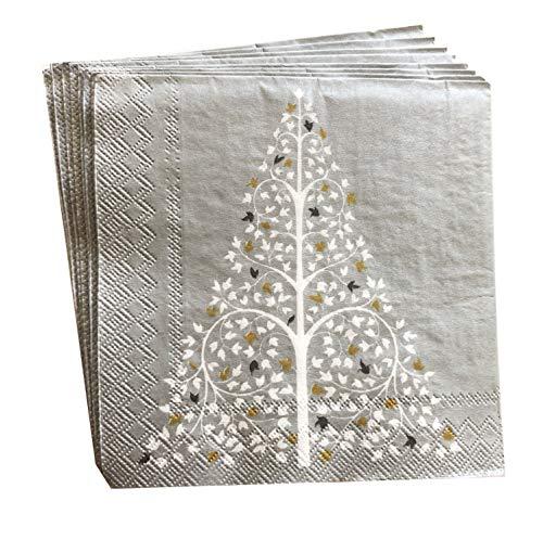 40cts 5x5 | Silver napkins | Christmas Napkins | Decoupage Napkins | Decorative Paper Napkins | Christmas Paper Napkins | Christmas Cocktail Napkins | Gray Cocktail Napkins for Wedding Funeral