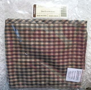 Longaberger Small Gathering Basket Khaki Check Color Fabric Over Edge Style Liner