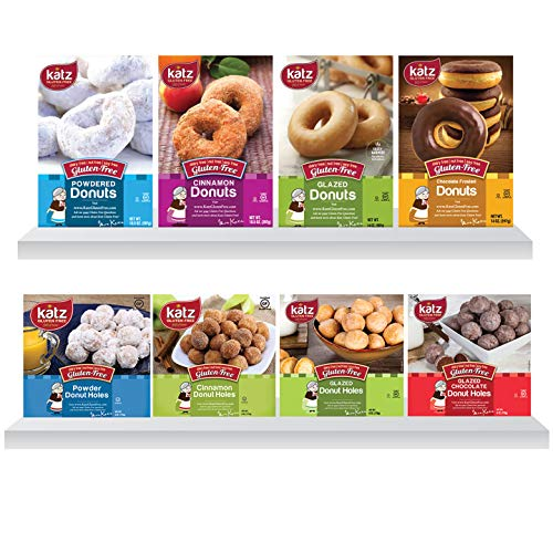 Katz Gluten Free Donuts & Donut Holes Top 8 Flavors Variety Pack | Gluten Free, Dairy Free, Soy Free, Nut Free | Powdered, Glazed, Cinnamon, Glazed Chocolate | Kosher (1 Pack of each, 8 Total))
