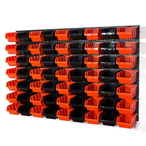 69 tlg. Wandregal Regal InBox Gr.3 schwarz orange Werkstatt Lochwand Wandplatte