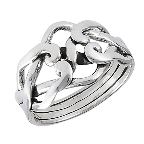 Puzzle Weave Knot Celtic Four Piece Ring .925 Sterling Silver Band Size 6