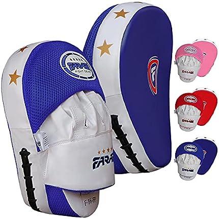 Farabi Almohadillas Curvas para Manoplas de Boxeo, Dos Pares de Almohadillas de Enfoque, Boxeo Entrenamiento de Muay Thai (Blue)