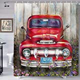 Red Retro Style Car Shower Curtains, Rustic Pickup Truck on Vintage Farm House Decor, Polyester Fabric Waterproof Bathroom Curtains Home Decor for Bathroom, Bath Curtain Hooks 72 x 72 inches YLLHTE19