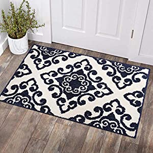 COSY HOMEER Textured Traditional Area Rug|Hand Tufted Vintage Decorative Door Mat Entryway Non Slip,Machine Washable Accent Distressed FringeThrow Rugs Floor Carpet 27×45 Inch(Dark Blue)