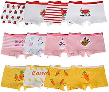 Kidear Bragas Cortas de algodón para niñas pequeñas de la Serie para niños Ropa Interior variada para bebés (Paquete de 12) (8-10 años, Estilo1)