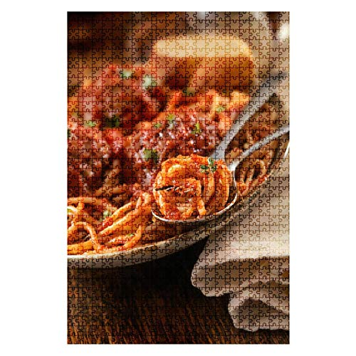 Wooden Jigsaw Puzzle Spaghetti with Large Meatballs 1000 Pieces for Adult Children Educational Decompression DIY Toys Gifts Fits Together Perfectly Multicolor