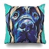 NBTJZT Square 18x18 Inches English Mastiff Bright Colorful Pop Dog Art Decorative Pillow Case Home Decor Pillowcase