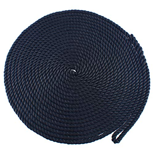 Amarine Made 1/2 inch 50 feet 3 Strand Twisted Nylon Rope Dockline Multipurpose Utility Line - Alkali, Chemical, and Weather Resistant - Crafts, Towing, Dock Line (Black)