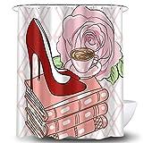 Whim-Wham Sexy High-Heeled Schuhe Rose Duschvorhang Bücher Kaffee Tasse Blumen Blumen Blüte Rosa Rot High Heels Geometrisches Muster Badezimmer Dekor Vorhang Set mit 12 Haken