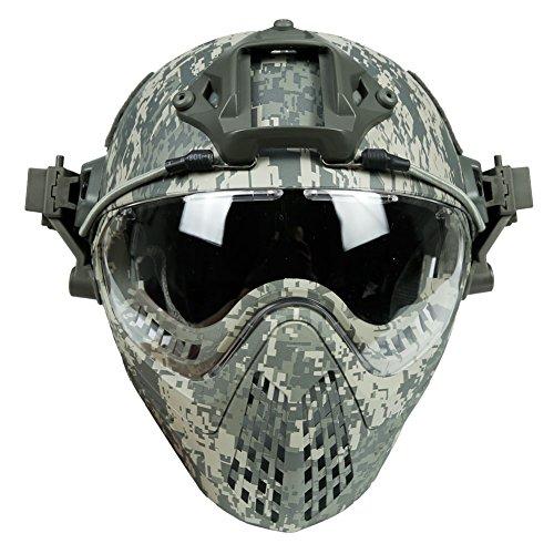 LEJUNJIE Taktische Fast Baotou Helm Outdoor Reiten Maske One Full Face Airsoft Maske Camouflage Edition Ohrschutz Brille für Airsoft Paintball CS Andere Outdoor-Aktivitäten, dunkelgrün