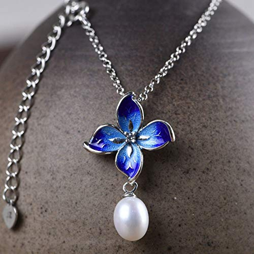 Handmade Pendant Necklaces For Women,Chinese Style Vintage Enamel Four Leaf Flower Pendant 925 Sterling Silver Jewelry For Ladies Girls Weddings Proms Birthday Party Other Special Occasions Gifts