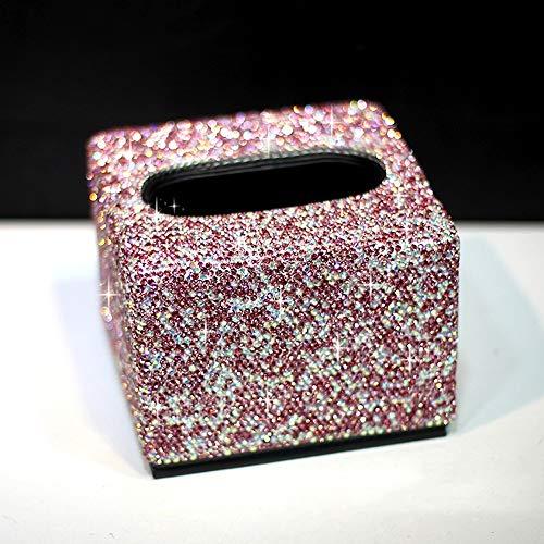 Dispensador de papel facial de la PU del tejido del cuero caja cuadrada cubierta del sostenedor, de gama alta cristalina del diamante de la servilleta de la caja del sostenedor de tocador de baño enci