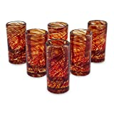 NOVICA Hand Blown Red Swirl Recycled Glass Shot Glasses, 2 Oz 'Ripe Ruby' (Set Of 6)