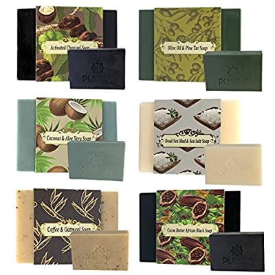Purelis Mens Soap Bar Gift Set. Set of 6 Aromatherapy, Moisturizing Soap Bars. Natural. Organic Ingredients. Deep Cleansing, Repairs Skin. Handmade Face, Hand, Body Soap for Men. Sulfate Free!