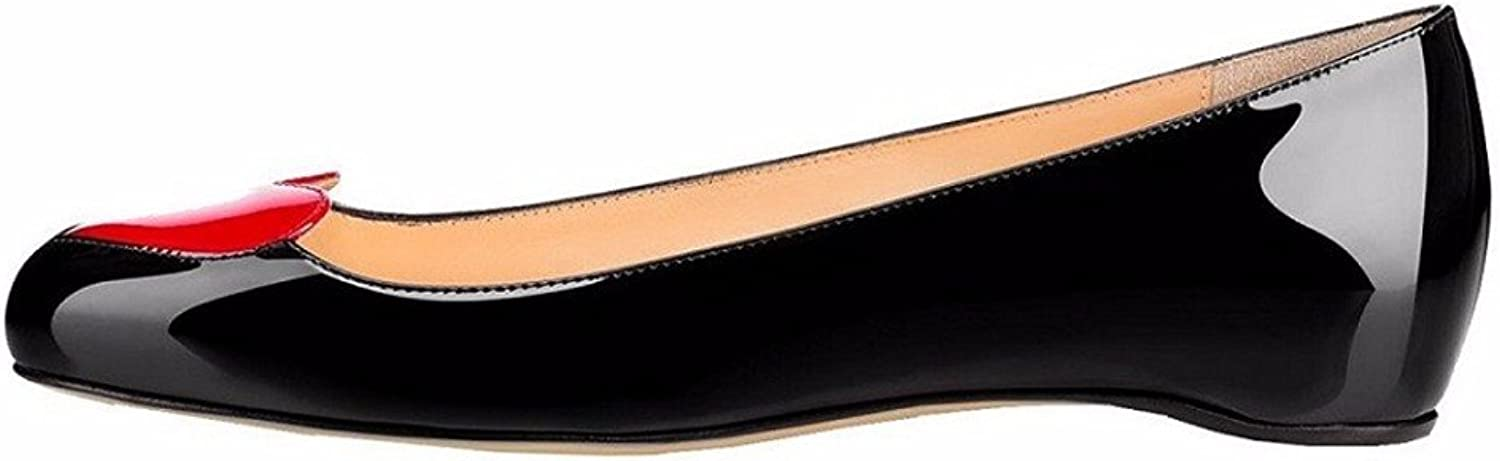 AIWEIYi Women's Closed Round Toe Ballet Flat Slip On shoes Black