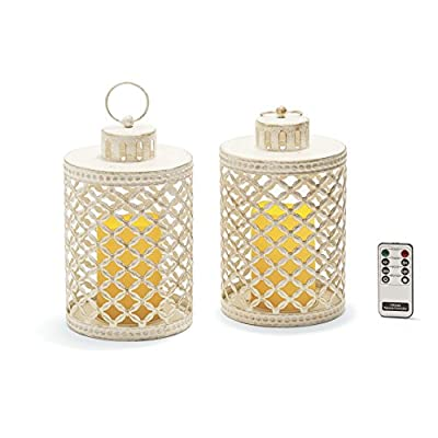 Set of 2 Distressed Metal Flameless Lantern, Batteries & Remote Included, For Indoor and Outdoor Use!