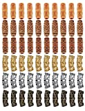 60 Pcs Imitation Wood Beads Metal Hollow Out Tube Beads Hair Braiding Jewelry for Hair Braiding Decoration DIY Accessory Barrel Beads Loose Beads