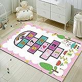 Alfombra de Juego para Bebés Plegable Alfombra Musical de Gimnasio Colchonetas Alfombra Pink Number Bunny Jumping Checked Game160x230CM(5'3''x7'7'')