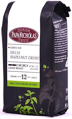 PapaNicholas Coffee Ground Coffee, Decaffeinated, Hazelnut Creme, 12 Ounce