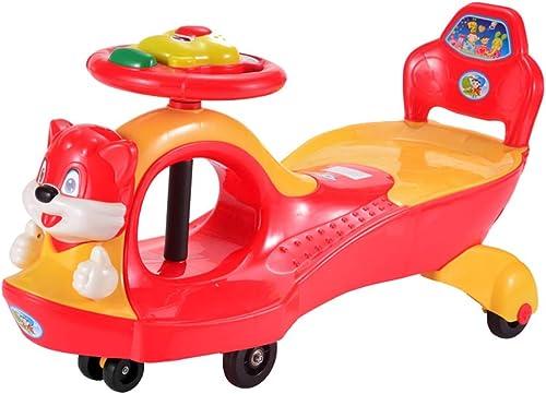 Kinder Twist Car 1-3-6 Jahre alt Yo Car Baby Spielzeug Roller Silent Wheel Swing Car Xuan - worth having (Farbe   rot, Größe   Glare wheel)