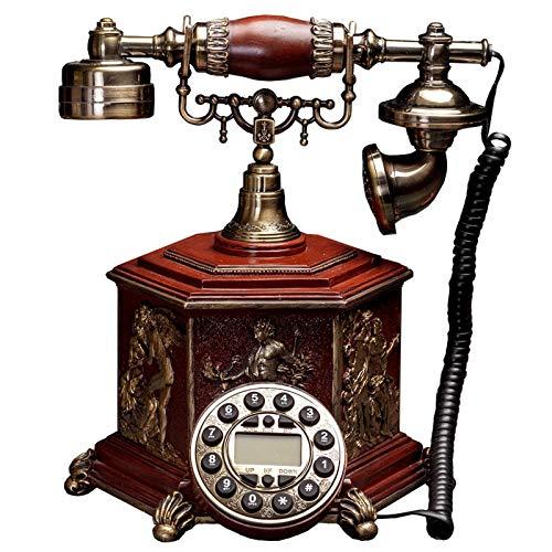 YUBIN Teléfono de estilo europeo retro teléfono,Botón de inicio con cable de la vieja moda fija,Sala de estar antiguos adornos fijos Hone