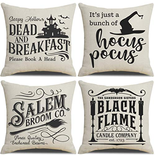 PSDWETS Fall Halloween Decor Throw Pillow Covers Set of 4 with Halloween Decorations Quotes Cotton...
